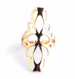Fashion Jewelry Ring Flower Stainless Steel 316L Gold Plated
