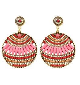 Fashion Jewelry Oorbellen Stekers Bohemian Round Pink