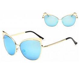 Zonnebril Cat Eye Gouden Frame Blauwe Glazen