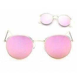 Zonnebril Retro Gouden Frame Roze Glazen