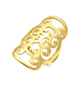 Fashion Jewelry Ring Flower Stainless Steel 316L - Gold