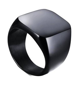 Fashion Jewelry Ring Black Stainless Steel - Shiny Black