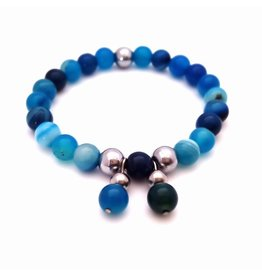 Sazou Jewels Armband Shiny Blue met bedel