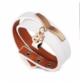 Sazou Jewels Wikkel Armband Leer met Stainless Steel elementen White