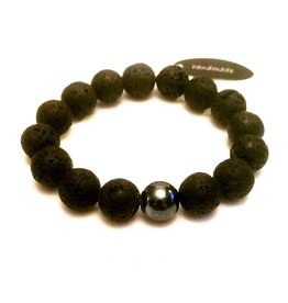 Sazou Jewels Armband Natural Stones Lava 12 mm SZ858