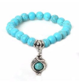Sazou Jewels Armband Natural Stones Turquoise Druppel Bedel