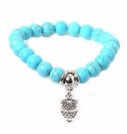 Sazou Jewels Armband Natural Stones Turquoise Uil Bedel