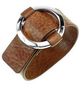 Fashion Jewelry Leren Gesp Armband Cognac