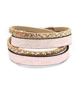 Fashion Jewelry Wikkel Armband Gold-Pink