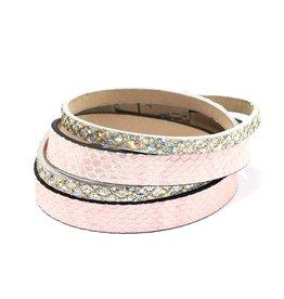 Fashion Jewelry Wikkel Armband Silver Pink