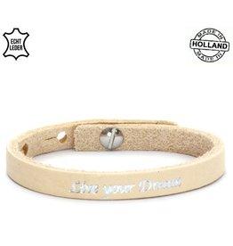 Armband Leer Live Your Dream - Creme