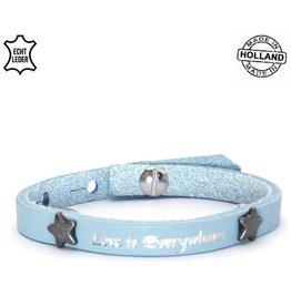 Armband Leer Love is Everywhere - Blue