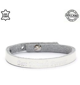 Armband Leer Best Friends Forever / White