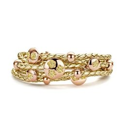 New Bling Armband Leer Gold met Round Rose Beads
