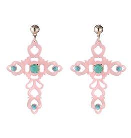 Yehwang Oorbellen Baroque Cross Pink