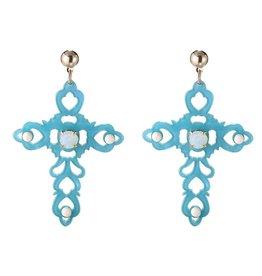 Yehwang Oorbellen Baroque Cross Blue