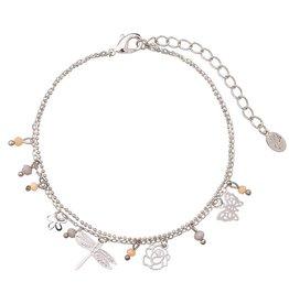 Enkelbandje Tiny Beads & Spring Vibes Grey