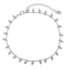 Enkelband Tiny Beads Party Silver