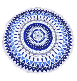 Round Beach Towel Blue Zig Zag