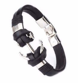 Sazou Jewels Armband Black Leather Anchor