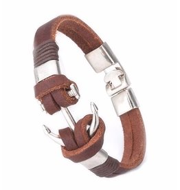 Sazou Jewels Armband Brown Leather Anchor
