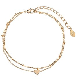 Enkelbandje Tiny Beads en Sweetheart - Gold
