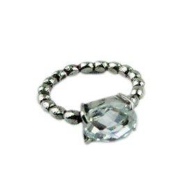 Ring Stainless Steel Gedraaid met Crystal steen