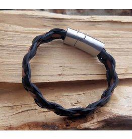 B & L Lederen Armband Black Braided / Brown Strip MT21