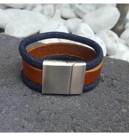 B & L Lederen Armband Brown / Jeans MT21