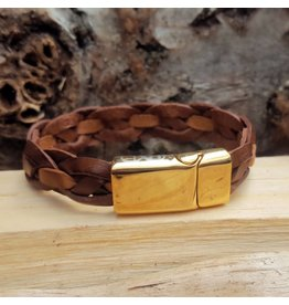 B & L Lederen Armband Brown Braided MT19
