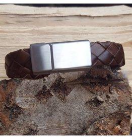 B & L Lederen Armband Dark Brown Braided MT21