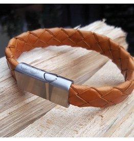 B & L Lederen Armband Cognac Braided