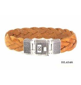 B & L Lederen armband gevlochten cognac - BL 4346 - Zilveren Slot