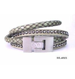 B & L Lederen Wikkel Armband Green 4021