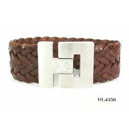 B & L Armband Gevlochten leer- Cognac BL 4356
