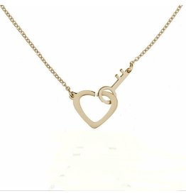 Fashion Jewelry Ketting Stainless Steel Heart & Key - Gold