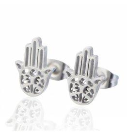 Fashion Jewelry Oorbellen Stekers Stainless Steel Hamsa Hand - Zilver