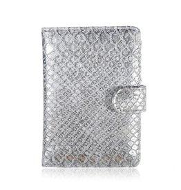 Yehwang Paspoort Case Croco Zilver/Grijs