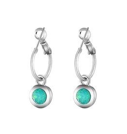 Yehwang Oorbellen Creolen Chic Sparkle Zilver met Turquoise steen