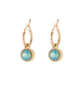 Yehwang Oorbellen Posh Sparkle - Turquoise - Gold Plated
