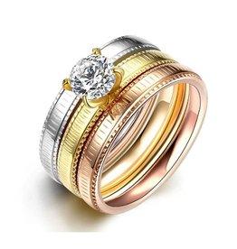 Fashion Jewelry Ringen Set Three Colore Stainless Steel met Zirkonia
