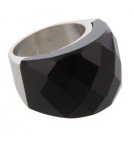 Ring Stainless Steel Black Agaat