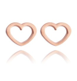 Fashion Jewelry Oorknopjes Stainless Steel Open Heart Rose Plated