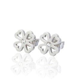 Fashion Jewelry Oorknopjes Stainless Steel Open Hart-Klaver