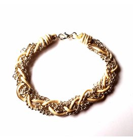 Sazou Jewels Armband vlecht Beige-Silver