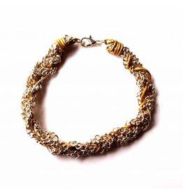 Sazou Jewels Armband vlecht Taupe Silver