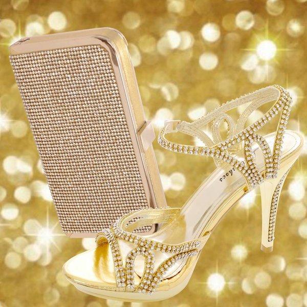 Gouden strass sandaal