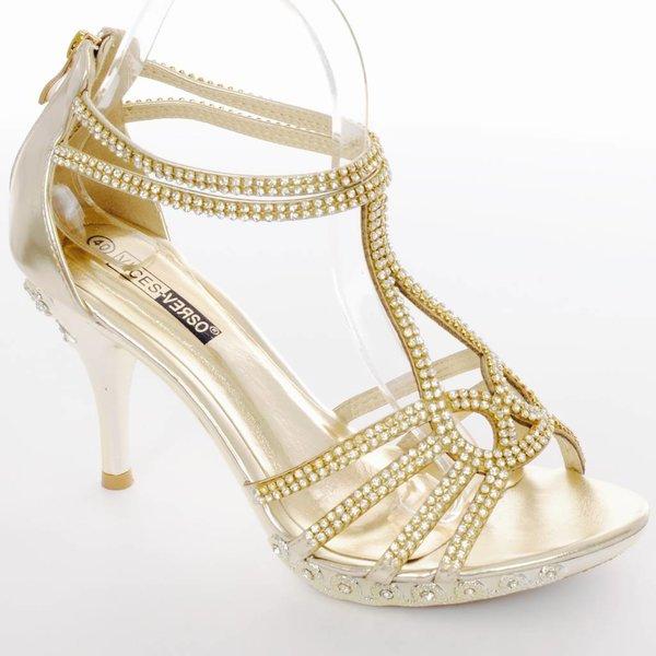 Strass sandalen goud