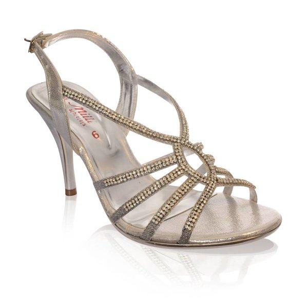 Zilveren strass sandaletten