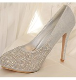 Glitter pumps zilver